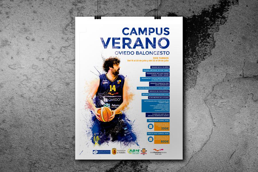 Campus de baloncesto. Diseño gráfico Asturias