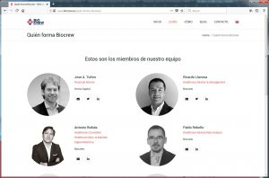 Biocrew, diseño de página web